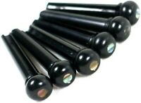 Set of 6 Acoustic Guitar Bridge Pins - Black / Pearl Dot