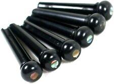Set of 6 Acoustic Guitar Bridge Pins - Black / Pearl Dot