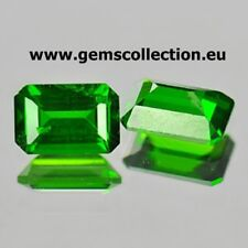 NATURAL CHROME DIOPSIDE CT 1.20 PAIR FORREST GREEN COLOR SI EMERALD CUT RUSSIA