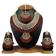 Meena Kundan Colorful Pearls & Stone Look Gold Plated PartyWear Necklace Jewelry