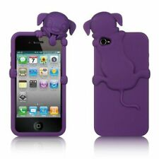 For Apple iPhone 4 4S High-End Dog Design Silicone Skin Gel Soft Case Purple