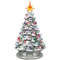 """15"""" Prelit Hand-Painted Ceramic Tabletop Christmas Tree Battery Powered Silver"""