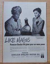 1947 magazine ad for Sinclair Oil - Like Magic, stars Joan Leslie & Jack Oakie