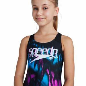 Speedo Junior Girls Swimsuit Digital Placement Splashback - Black