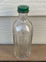 VTG Medicine Apothecary Bottle DR. PETER FAHRNEY Chicago Clear Glass w/ Lid F/S