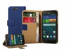 Wallet BLUE Leather Flip Case Cover Pouch Saver for Huawei Ascend G7 (+2 FILMS)
