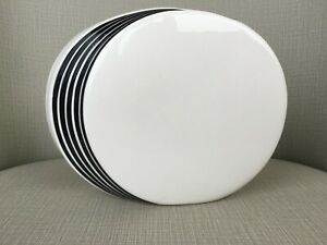 MId-century-modern Disk Vase White with Black Made in Japan