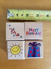 4 Pc Set BIRTHDAYS Wood Mounted Rubber Stamps - Crafting Scrapbooking Embossing