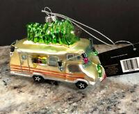 "Robert Stanley Glass Ornament RV CAMPER Christmas Tree New 4"" NEW"