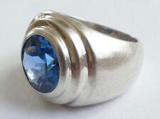 Ring Solitär Edelstein Topas Silber 925 Vintage 80er ring