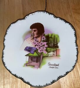 """ELVIS PRESLEY 7.25"""" GRACELAND MEMPHIS TENNESSEE COLLECTOR PLATE MANSION GOLD FUN"""