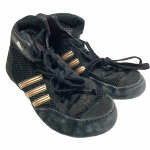 Adidas Boys Combat Speed III Wrestling Shoes Black G12671 Lace Up Mid Top 3.5M