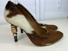 AllSaints Ponyhair Brown and White Beaded Accent Stiletto Heels - Size 38