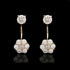 1CT Brilliant Created Diamond Cluster Telephone Earrings Solid 14k Yellow Gold