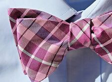 The Tie Bar Pink, Violet, and White Plaid Check Adjustable Self-Tie Silk Bow Tie