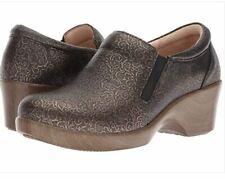 Alegria  EU 37 US 7 - 7.5   Eryn Bronze Leather  Swirl Heeled Clogs  Shoes   NEW