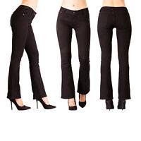 Women Bootcut Black Flare Jeans Ladies Stretch Denim Pants Size XS S M L XL