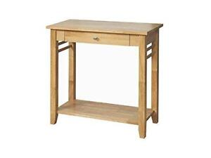 Oak Finish Solid Wood Console Hall Table with Drawer Shelf Hallway Livingroom
