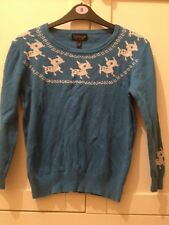 Topshop Blue White Deer Reindeer Festive Christmas Crop Top Jumper