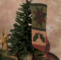 QUILTED TWINKLE STAR HOLLYBERRY CHRISTMAS STOCKING TEA DYED