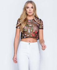 Summer Floral Embroidered Mesh Sheer See Through Black T-shirt Crop Tops Blouses