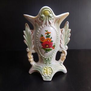Vase céramique porcelaine barbotine fleur blanc vintage art nouveau BRAZIL N7418