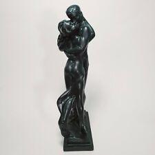 MCM Austin Sculpture CARESS S.Romo Man and Woman Embrace Deep Green Stone Resin