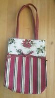 Longaberger Holiday Poinsettia Botanical Red Stripe Tote Gift Lunch Bag Purse