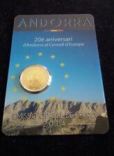 """Andorra 2 euro Bu coin 2014 """"European Council"""" in coincard  /blister NEW"""