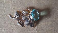 Big vintage rose gold over sterling silver blue topaz flower brooch