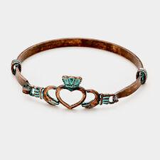 Claddagh Bracelet Bangle Open Heart Irish Clover Love Loyalty Friendship PATINA