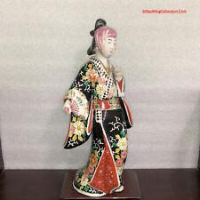 "14""H Japanese Meiji Kutani Imari Porcelain Statue Bijin Geisha Dancing Figure"