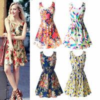 Women Summer Beach Chiffon Sleeveless Mini Dress OL Floral Pleated Tank Sundress