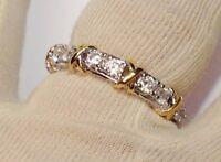 bague alliance argent rhodié style joaillerie cristaux solitaire diamant T.57