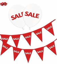 SALE Bundle of Red Bunting Banner and 15 Printed White Latex Balloons