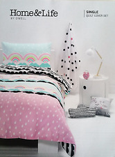 Kids Raindrops & Rainbows Single Bed 2pc Doona / Quilt Cover Set