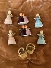 Vintage Miniature Angels Musicians Blue, Pink, Kissing