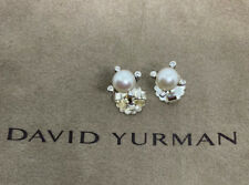 David Yurman 925 Sterling Silver Small 6mm Pearl & Diamond Cable Earrings