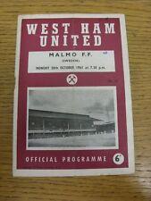 30/10/1961 West Ham United v Malmo FF [amigable] (arrugada, doblada, usado, escritura