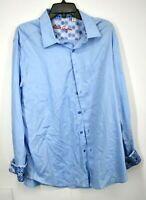 Robert Graham Mens Blue Flip Cuff Button Up Long Sleeve Dress Shirt Cotton 2XL