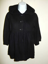 FOR JOSEPH 100% CASHMERE BLACK BABY-DOLL HOODED 3/4 SLEEVES CARDIGAN SWEATER XS