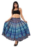 Indian Peacock Mandala Print Cotton Rapron Casual Skirt Women Wrap Around Skirt