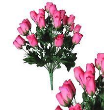 """24 Fuchsia Rosebud 24""""Bouquet Home Office Wedding Party Decor Silk Flower Leaf"""