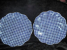 """2 Bailey, Banks and Biddle Blue and White Flower Coalport 9 1/2"""" Scallop Plates"""