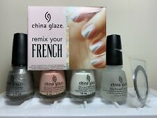 CHINA GLAZE Nail Polish Remix Your French 4pc Set innocence + icicle NEW Lacquer