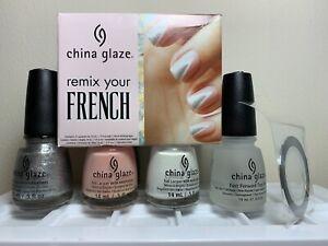 CHINA GLAZE Nail Polish Remix Your French 4pc Set innocence + icicle NEW Lacquer