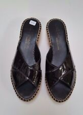 Andre Assous Shoes Sandals Wedge Heel Patent Leather Black Size 8.5 US 39 EUR
