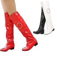 Vintage Shoes Womens Party Slip On Booties sexy gogo Knee Length Boots UK 0-11
