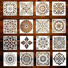 16PCS Mandala Painting Templates Openwork Painting Stencils DIY Making Top