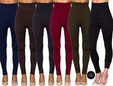 Ladies Womens High Waist Fur Lined Slimming Shaping Warm Winter Stretch Leggings